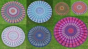 Indien Paon Mandala Rond Boho Plage Jeté Tapisserie Hippie Yoga Mat Décor 183cm