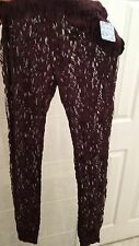 NWT Free People Ladies Lace leggings size M blackberry FREE PEOPLE INTIMATELY