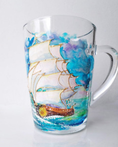 Coffee cup ship, stained glass fragment, personalized present