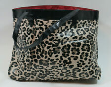Neiman Marcus Leopard Print Tote Shopping Bag Red Tan Cheetah Overnight Large