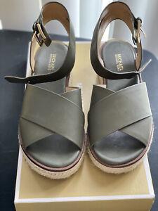 MICHAEL KORS Leather Sandal Olive Green, Size 5