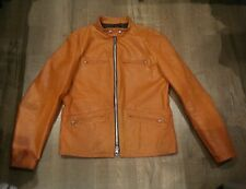 DROSPO CAFER RACER LEATHER MOTO BIKER JACKET ORANGE 42 CANADA schott vanson