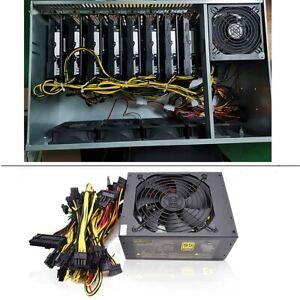 2000W ATX 12V Stromversorgung Tragbar für ETH Bitcoin Ethereum Mining Miner