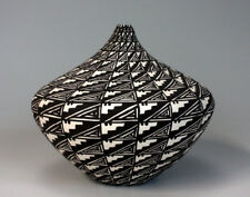 Acoma Pueblo Native American Indian Pottery Black & White Vase  Sandra Victorino
