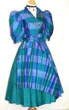 DIRNDL Oktoberfest Party SILK German Waitress Garden Sun DRESS BLUE GREEN 6 S
