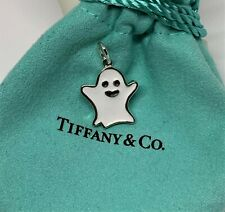 Tiffany & Co. Sterling Silver 925 Enamel Halloween Ghost Charm With Pouch.