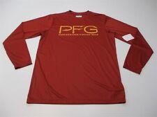 new Columbia Men Size M Performance Fishing Orange Long Sleeve Rashguard T-Shirt