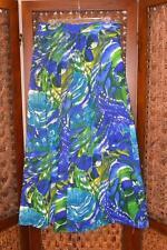 vtg 60s 70s Boho Hippie Grunge Mod Watercolor Floral Maxi Hostess Skirt w/Belt L