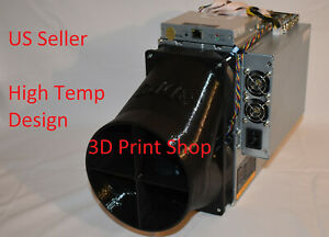 "Antminer DR5 S11 S15 T15 S17 T17 S19 Z9 Z11 6"" Double fan duct Shroud eBit 10.2"