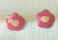 Girls Earrings 925 Sterling Silver Stud Pink Enamel Heart