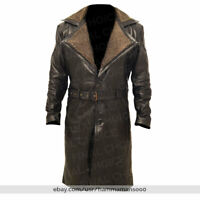 Mens German WW2 Brown Belted Fur Leather Trench Long Winter Blade Runner Coat