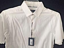 HART SCHAFFNER MARX $90 NWT White Summer Dress Shirt Feather designs