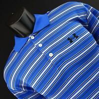 Men Under Armour Blue Striped Golf Polo Shirt Size Medium M Athletic Performance