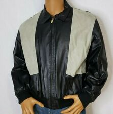 Bally Leather Black Jacket Bomber Flight  Mens Size 42 Made in Italy