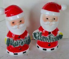 Vintage Brinn Plastic Salt Pepper Shakers Santa Christmas Darker Green