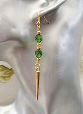 Elegante Pendientes Perforados largo cuelgan en Tono Dorado Spike Perlas Verde Esmeralda 90mm