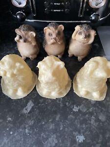 3 Wise Hedgehogs Rubber Mold Mould Fairy Garden See,speak,hear No Evil. Set
