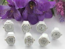 7pcs mixed styles rhinestone watch white elastic Finger Rings #22451