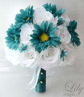 17pcs Wedding Bridal Bouquet Set Silk Flower Decoration Package roses TEAL WHITE