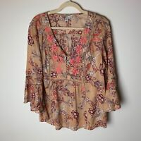Vintage America Women's Top Size XL Popover Blouse 3/4 Bell Sleeves Embroidered