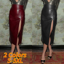 UK Women Ladies High Waist Pencil Skirt Bodycon PU Leather Midi Dress Lined 8-26