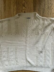 Topshop Cream Cotton Knit Oversized Cropped Jumper Size 10