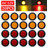 "20x 2"" Inch Round Red / Amber Side Marker Clearance LED Trailer Truck Lights 12V"