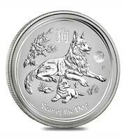 2018 1 oz Silver Lunar Year of The Dog Lion Privy BU Perth Mint