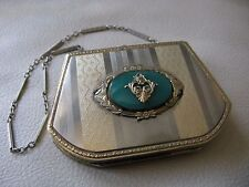 Antique Art Deco Silver & Gold T Coin Holder Faux Jade Purse Compact MARATHON