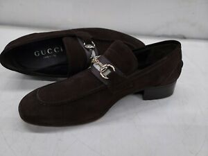 Mens Brown GUCCI  Leather Suede Gold Horse Bit Shoes Loafers 42 E