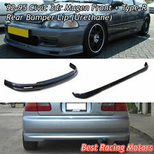 Mu-gen Style Front + TR Style Rear Bumper Lip (Urethane) Fit 92-95 Civic 3dr