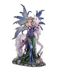 "9.75"" Inch Beautiful Fairy with Unicorn Statue Figurine Figure Fairies Magic"