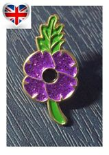 RARE Animals In World War Purple Remembrance Red Poppy Enamel Pin Badge Brooch