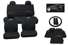 UNIVERSAL CAR SEAT COVERS FULL SET SPORT RACING LOGO MATS STEERING GLOVE Black05