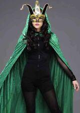 Bola larga de terciopelo verde adulto Enmascarado Capa Con Capucha