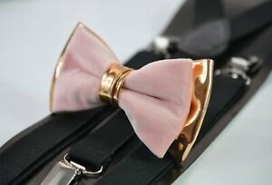 Dusty Pink Velvet Rose Gold Leather Bow tie + Black Suspenders Baces All ages