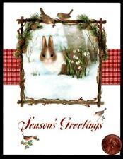 Susan Wheeler Christmas Bunny Rabbit birds Snow Frame - Small Greeting Card