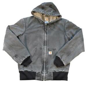 Vintage Carhartt Denim Logo Fleece Lined Heavy Weight Jacket - M