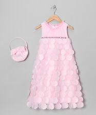 NWOT Donita Light Pink Paillette Overlay Dress & Handbag girls 10-12