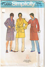 Mens Wrap Robe Ties Pockets Shawl Collar Alphabet Monogram Sewing Pattern 38 40