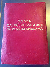YUGOSLAVIA - BOX for ORDER OF MILITARY MERIT WITH GOLDEN SWORDS - Rare red type