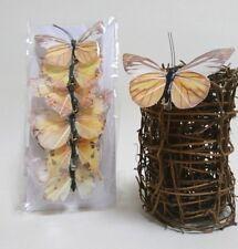 6er Set Schmetterling mit Clip Deko Feder hellbraun creme gelb schwarz Frühling