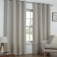 Tony's Textiles Linen LOOK Textured Thermal Blackout Ring Top Eyelet Curtains -