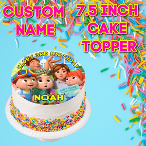 """Personalised 7.5"""" Cocomelon Custom Name Edible Icing Cake Topper Birthday Party"""
