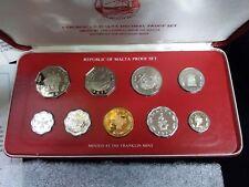 1978 Malta Proof Set 9 Coin Set Original Holder and Coa
