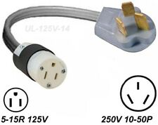 10-50P Plug 5-15R Home Wall Outlet Electrical To Gas Stove/Range Power Adapter