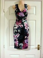 NEW LIPSY Black Plunge Neck Floral Pencil Party Evening Dress Sizes 4-18