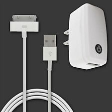 Home Charger Combo for iPhone 3,4/4S with USB Cable WHITE.Fast Charging.Led lite