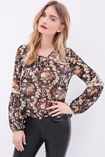 NWT New Forever 21 Contemporary Floral Chiffon Peasant Blouse Small S
