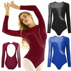 Women Ladies Leotard Long Sleeve Rhinestone Ballet Dance Gymnastic Bodysuit